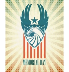 Memorial day typographic card with the american vector