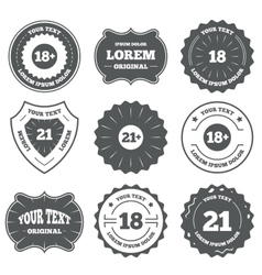 Adult content icons eighteen plus years sign vector