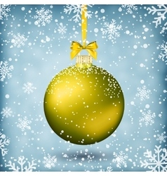 Gold christmas ball with ribbon and bow vector
