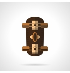 Brown longboard flat color icon vector