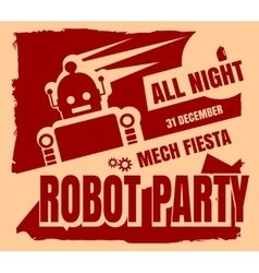 Retro robot party poster vector