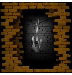 Steel guitar in rock breaking through brick wall vector