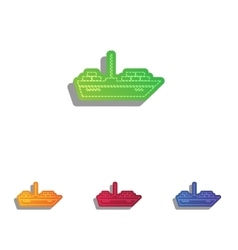 Ship sign  colorfull applique icons vector
