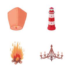 a light lantern a lighthouse a fire a vector image vector image