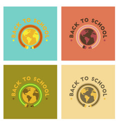 Assembly flat icons back to school globe vector
