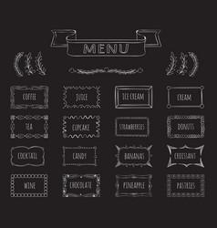 cafe blackboard menu hand drawn set vector image vector image