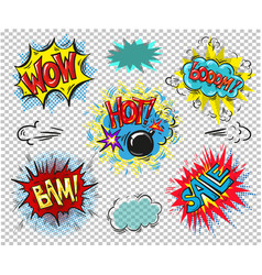 collection of seven multicolored comic sound vector image vector image