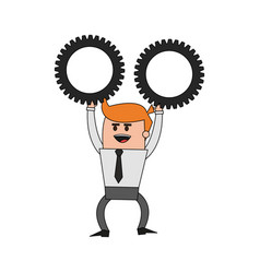 Color image cartoon business man holding a gears vector