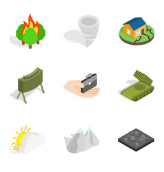 Explosion icons set isometric style vector