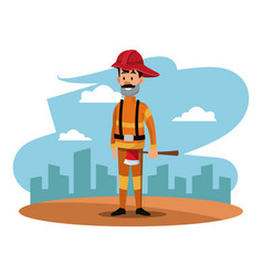 Fireman helmet ax uniform cityscape labor day vector