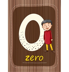 Flashcard number 0 with number and word vector