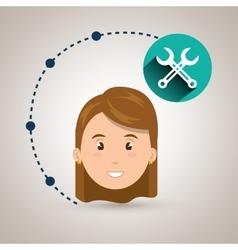 Girl connection app icon vector