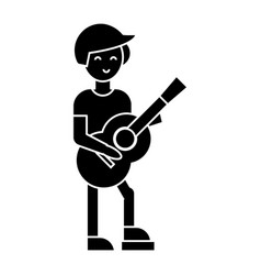 Guitar player flamenco icon vector