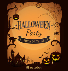 halloween party trick or treat promotional poster vector image