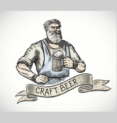 Happy brewer or craftsmans characters holding a vector