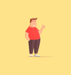 happy fat man funny cartoon character fat guy vector image