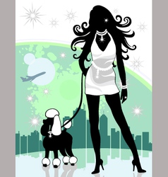lady walking poodle vector image vector image