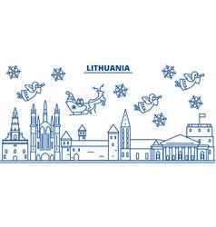 Lithuania winter city skyline merry christmas vector