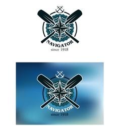 Marine navigator emblem or badge vector image