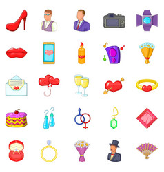 marriage icons set cartoon style vector image
