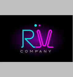 neon lights alphabet rv r v letter logo icon vector image