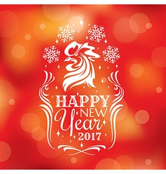 New year greeting card with rooster vector