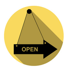 open sign flat black icon vector image