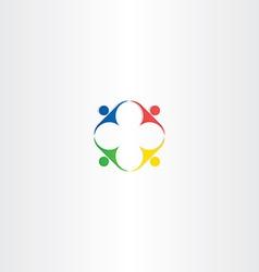 People teamwork square color icon design vector