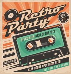 Retro party poster design vector image