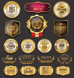 retro vintage golden badges collection vector image vector image