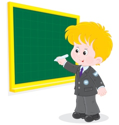 Schoolboy writes on the blackboard vector image