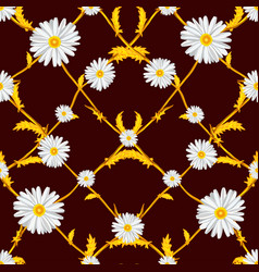 seamless pattern of crossed chamomiles vector image vector image