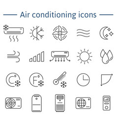 Simple set of air conditioning icons for vector