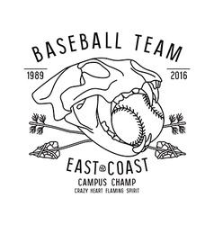 Skull animal baseball team emblem vector