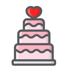 stacked love cake filled outline icon vector image vector image
