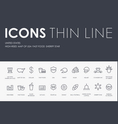 United states thin line icons vector