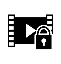 video strip and safety lock icon vector image vector image
