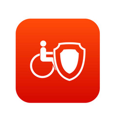 wheelchair and safety shield icon digital red vector image vector image