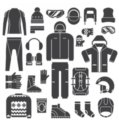 Winter Sports Clothes Outline Icons vector image vector image