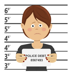 Woman posing for mugshot holding signboard vector