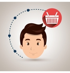 Boy connection app icon vector