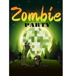 Halloween zombie party on green disco ball moon vector