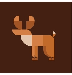 Horned elk geometric design animal style flat vector