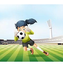 A female player catching the soccer ball vector