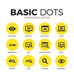 Monitoring flat icons set vector