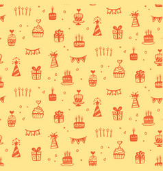 birthday party seamless patterns with doodles vector image