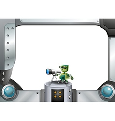 A metallic frame with a robot and a telescope vector