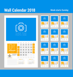 Wall calendar template for 2018 year set of 12 vector