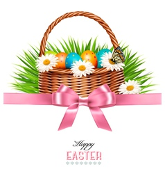 Happy easter background basket with eggs daisies vector