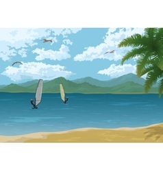 Sea landscape with palms mountains and surfers vector